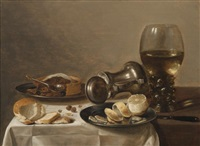 nature morte au verre römer, citron et la tourte by cornelis cruys