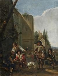 le joueur de vielle devant l'entrée d'une ville by hendrick verschuring