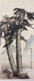 deux grands pins accolés émergeant de rochers by xiao shufang