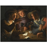 three cardplayers around a table lit by a candle by peter wtewael
