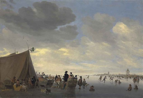 skaters on the frozen river lek the town of vianen beyond by salomon van ruysdael