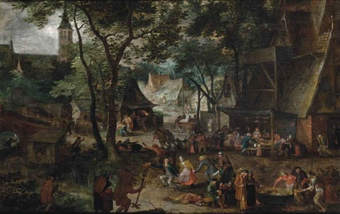 a wedding banquet in a village with peasants making merry by david vinckboons