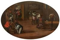 les singes médecins et les singes musiciens (pair) by ferdinand van kessel