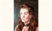 jeune femme brune (sa fille?) by jules emmanuel valadon