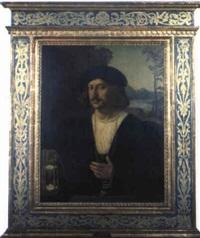 retrato de hombre con reloj de arena by (veneto) bartolommeo