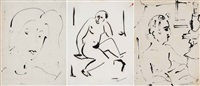 figure (group of 3 works) by sante monachesi