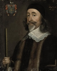 portrait of a gentleman in a black fur-trimmed coat with lace collar by william dobson