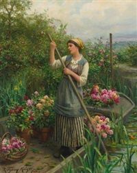 Gathering flowers along the river. Daniel Ridgway Knight