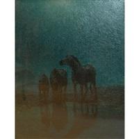 zebras grazing-moonlight by arthur radclyffe dugmore
