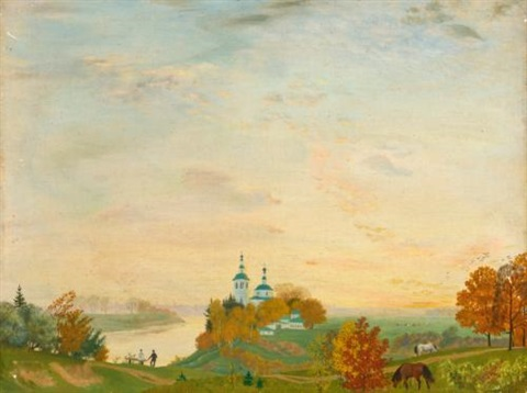 above the river autumn by boris mikhailovich kustodiev