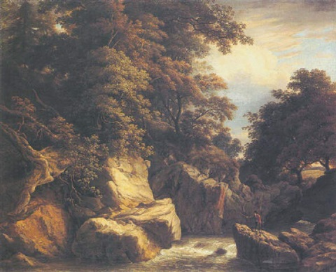 a wooded river landscape with an angler on a rock casting his line by william ashford