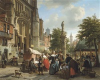 marché près de l'église saint-paul à anvers by jean (jan) michael ruyten