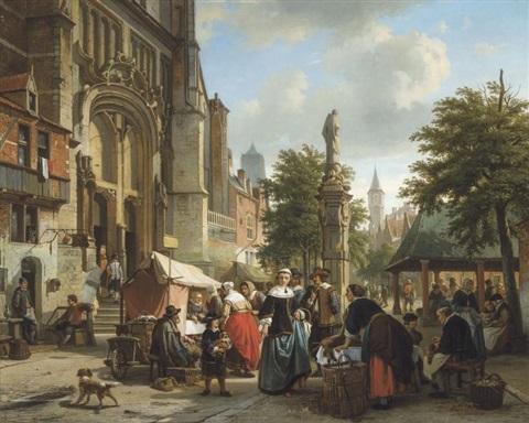 marché près de léglise saint paul à anvers by jean jan michael ruyten