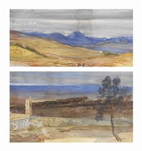 a view near rome (+ a monastery at albano; 2 works) by john leslie