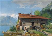 sonniges seeufer mit bauernhaus und staffage by auguste bachelin