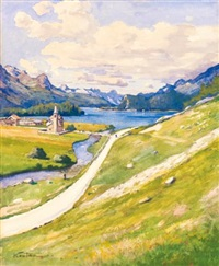 ansichten des silsersee (views of lake sils) (3 works) by hippolyte coutau