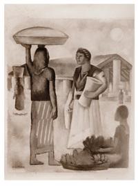 mercado en tehuantepec, pintura de diego rivera by tina modotti