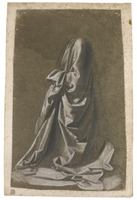 drapery study of a kneeling figure facing left by andrea del verrocchio