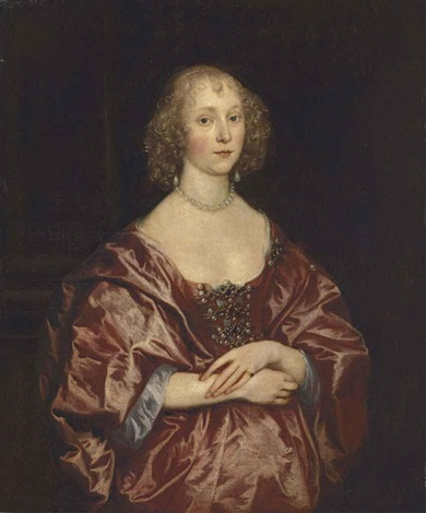 portrait of a lady half length in a red dress embroidered with pearls and diamonds and a red mantle by sir anthony van dyck