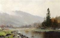 norwegian river landscape by ludvig skramstad