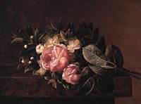 lyseråde roser og myrter på en karm by h. wolff