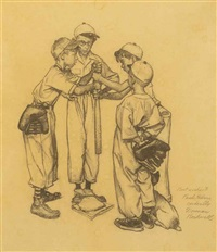 choosing up (four sporting boys: baseball)--study by norman rockwell