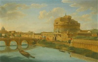 rome, a view of the tiber with the castel sant angelo and ponte sant'angelo, saint peter's basilica beyond by hendrick frans van lint