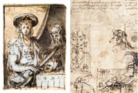 judith with the head of holofernes (+ sheet of various figure and compositional studies, verso) by german school-munich (17)