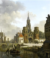 figures in a canalside town by jan hendrik verheyen