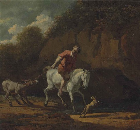 a rocky wooded landscape with a man on a horse pulling a donkey across a stream by karel dujardin