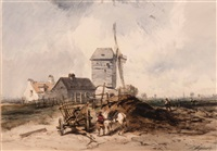 figure with horse and wagon by the mill by charles hoguet