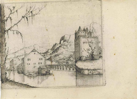 river landscape with two buildings connected by a bridge the conversion of saint paul and large tree and castle on a lake 3 works by augustin hirschvogel