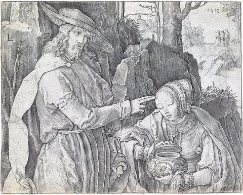 christ appearing to st mary magdalen as a gardener by lucas van leyden