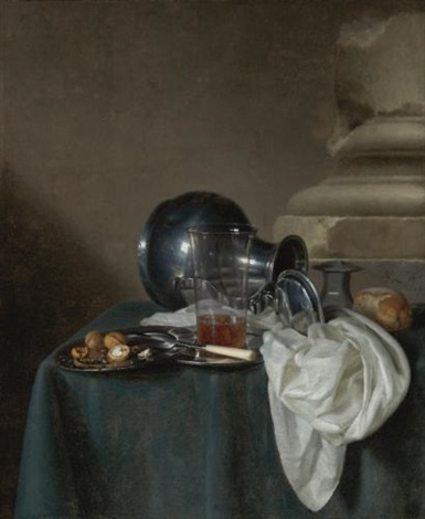 a still life with a pewter jug on its side a glass of ale a salt cellar a bread roll and other objects on a table draped in a dark green cloth by simon luttichuys