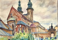 widok na kościół św. andrzeja w krakowie by stanislaw kamocki