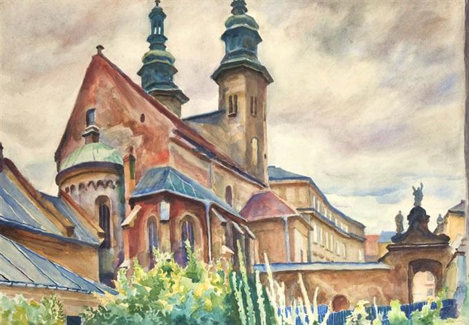 widok na kościół św andrzeja w krakowie by stanislaw kamocki