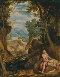 saint jerome in a landscape by girolamo muziano
