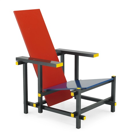 red and blue chair fåtölj by gerrit rietveld