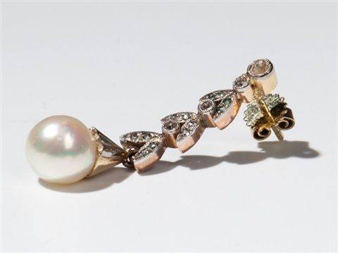 art nouveau diamond natural pearl earrings of 14 carat gold