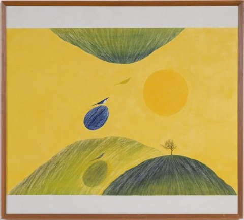 untitled from bird tree and mountain by jagdish swaminathan