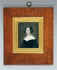 portrait de jeune femme à la robe de velours noir by francois meuret