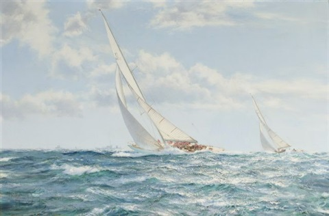 the america's cup race, weatherly and gretel by montague dawson