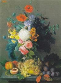 composizione di fiori e frutta by henri-charles-albert de laforce