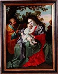 sainte famille dans un paysage by jan van den hoecke