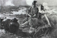 illustration: man and woman sitting on moonlit beach by frederic a. anderson