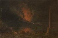 la baie de naples, la nuit avec l'éruption du vésuve vue depuis la riviera di chiaia by pietro antoniani