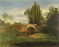 paysage au pont by jules dupré