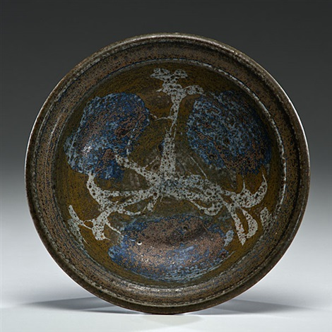 bowl with wax resist decoration by peter voulkos