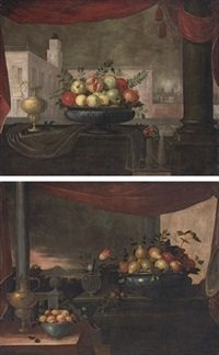 pomegranates, quince and apples in a pewter tureen (+ another; 2 works) by pedro de camprobin