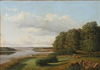 danish summer landscape with a view towards a fiord by david monies